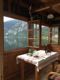 Views from Hallstatt Austria. Views from inside one of the cozy rentals on Hallstatt's sleepy lake Royalty Free Stock Photography