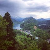 Views from the Hike to Neuschwanstein Castle. The hike to Neuschwanstein Castle is a gorgeous one. This photograph shows the town and second castle royalty free stock photography