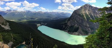 Views hiking around Lake Louise, Lakeview trail, Plain of six glaciers, Lake Agnes, Mirror Lake, Little and Big Beehive, Banff Nat Stock Photos