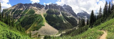 Views hiking around Lake Louise, Lakeview trail, Plain of six glaciers, Lake Agnes, Mirror Lake, Little and Big Beehive, Banff Nat Royalty Free Stock Photography