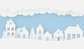 Views of the house in winter on a snowy day vector illustration