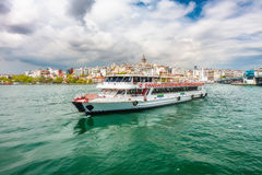Views of Istanbul and the Bosphorus with the ship. Royalty Free Stock Images