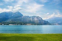 Views of the Italian lake Como from Villa Melzi. Nature and towns on beautiful lake Como stock photos