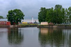 Views of the Italian pond in rainy weather. Kronstadt Stock Images