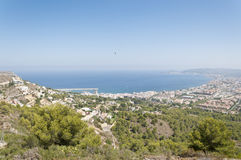 Views of Javea town from Montgo Massif. Royalty Free Stock Photo
