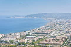 Views of Javea town from Montgo Massif. Royalty Free Stock Images