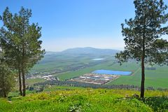 Views of the Jezreel Valley from the Mount Precipice, Nazareth, Lower Galilee, Israel. Views of the Jezreel Valley from the heights of Mount Precipice, located stock photography