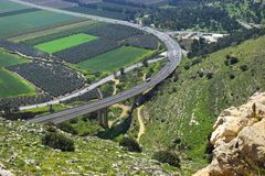Views of the Jezreel Valley from the Mount Precipice, Nazareth, Lower Galilee, Israel. Views of the Jezreel Valley from the heights of Mount Precipice, located royalty free stock image