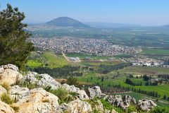 Views of the Jezreel Valley from the Mount Precipice, Nazareth, Lower Galilee, Israel. Views of the Jezreel Valley and Mount Tabor from the heights of Mount stock images
