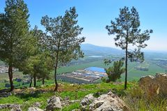 Views of the Jezreel Valley from the Mount Precipice, Nazareth, Lower Galilee, Israel. Views of the Jezreel Valley from the heights of Mount Precipice, located royalty free stock photography