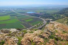 Views of the Jezreel Valley from the Mount Precipice, Nazareth, Lower Galilee, Israel. Views of the Jezreel Valley from the heights of Mount Precipice, located royalty free stock images