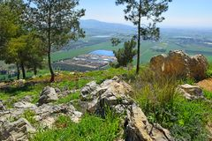 Views of the Jezreel Valley from the Mount Precipice, Nazareth, Lower Galilee, Israel. Views of the Jezreel Valley from the heights of Mount Precipice, located royalty free stock photos