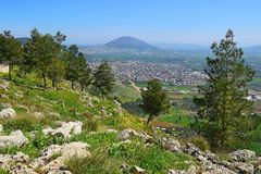 Views of the Jezreel Valley from the Mount Precipice, Nazareth, Lower Galilee, Israel. Views of the Jezreel Valley and Mount Tabor from the heights of Mount royalty free stock images
