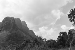 Views of jungle mountains. In black and white mode royalty free stock images