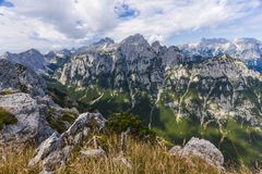 Views of Krma valley from Debela Pec. Mountain in Triglav National Park Royalty Free Stock Photo
