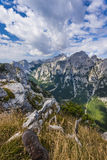 Views of Krma valley from Debela Pec. Mountain in Triglav National Park Stock Photo