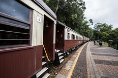 Kuranda Scenic Railway Cars. Views from the Kuranda Scenic Railway, as it climbs the hill to Kuranda. Near Cairns, Australia stock photos