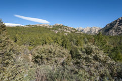 Views of La Pedriza from Canto Cochino. In Guadarrama Mountains National Park, Madrid, Spain. In the background can be seen The Cancho de los Muertos (Peak of Royalty Free Stock Photography