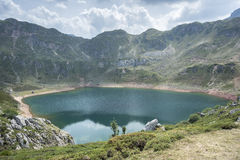 Views of Lago de la Cueva Lake of the Cave. In Saliencia Valley, Somiedo Nature Reserve. It is located in the central area of the Cantabrian Mountains in the Stock Photo