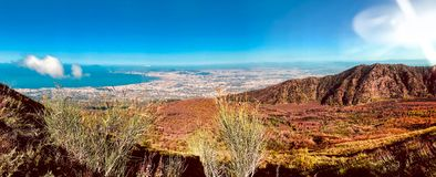 Views of landscape from the route to Mount Vesuvius in Naples, Italy royalty free stock photography