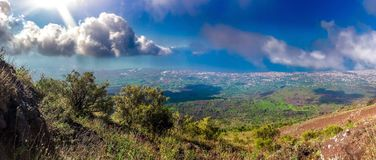 Views of landscape from the route to Mount Vesuvius in Naples, Italy royalty free stock image
