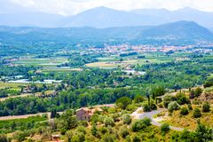 Views of Languedoc-Roussillon from village Eus, France. Views of Languedoc-Roussillon from village Eus Royalty Free Stock Images
