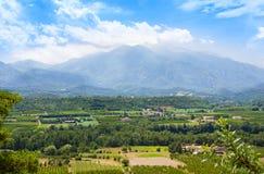 Views of Languedoc-Roussillon from village Eus, France. Views of Languedoc-Roussillon from village Eus royalty free stock photo