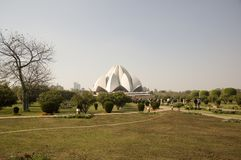 The views of the large Park alongside Lotus Temple in India, new Delhi. stock image