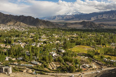Views of Leh city from Shanti Stupa Ladakh ,India Stock Image