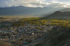 Views of Leh city before sunset from Namgyal Tsemo Monastery  Ladakh ,India Royalty Free Stock Photography