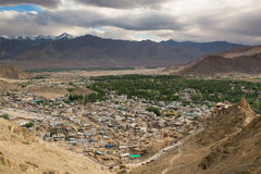 Views of Leh city from the top. Leh, a high-desert city in the Himalayas, is the capital of the Leh region in northern India's Jammu and Kashmir state Stock Images