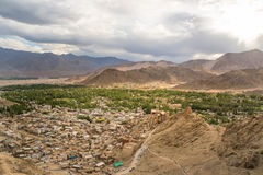 Views of Leh city from the top.Light and shade from sunset. Leh, a high-desert city in the Himalayas, is the capital of the Leh region in northern India's Royalty Free Stock Photos