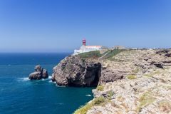 Views from the lighthouse of Cabo do Sao Vicente in Algarve Portugal royalty free stock photo