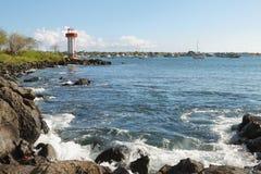 Views of lighthouse and Puerto Baquerizo Moreno Royalty Free Stock Photos