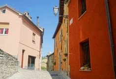 Colored houses. Serra San Quirico Royalty Free Stock Photo