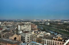 Panorama of Lleida city at Catalonia Spain Royalty Free Stock Photography