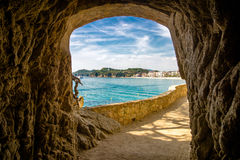 Views of Lloret de Mar. Over the grotto in the rock Stock Photos
