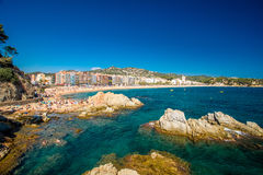 Views of Lloret de Mar. View of the central beach in Lloret de Mar Royalty Free Stock Photos