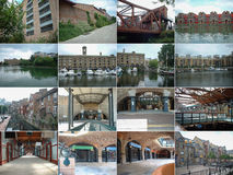 16 views of London docklands Royalty Free Stock Photo