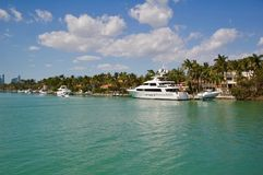 Views of Luxury Real Estate & Yachts in Miami, Florida royalty free stock photography