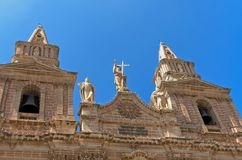 Churches of Malta - Mellieha. Bell towers of the Church of Our Lady of Victory, Mellieha, Malta Royalty Free Stock Photo
