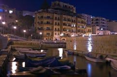 Malta - St Paul's Bay at night. Impressive night view of St Paul's Bay (San Pawl il-Bahar), popular tourist destination in the northwestern part of Malta Royalty Free Stock Photography