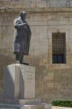 Malta, Streets of Valletta. Monument to Sir Paul Boffa, former Maltese prime minister in 1947-1950, Valletta, Malta Stock Image