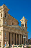 Churches of Malta - Mosta Rotunda. Six-columned portico of the monumental parish church of St Mary dedicated to the Assumption of Our Lady, known as the Mosta Royalty Free Stock Photos