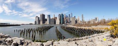 Views on Manhattan Skyline from Brooklyn Bridge Park in New York City. Royalty Free Stock Photo