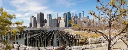 Views on Manhattan Skyline from Brooklyn Bridge Park in New York City. Stock Photo