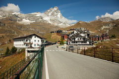Views of Matterhorn from the Italian town of Breuil-Cervinia Royalty Free Stock Photos