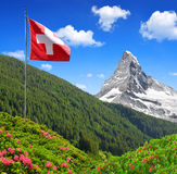 Views of the Matterhorn. With Swiss flag - Swiss Alps Stock Images