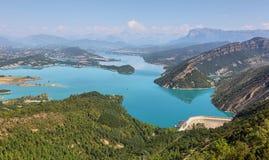 Mediano Reservoir from Samitier castle in Sobrarbe region, Huesca, Spain stock photo