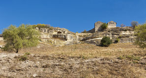 Views of the medieval cave city-fortress Chufut-Kale. Stock Photos